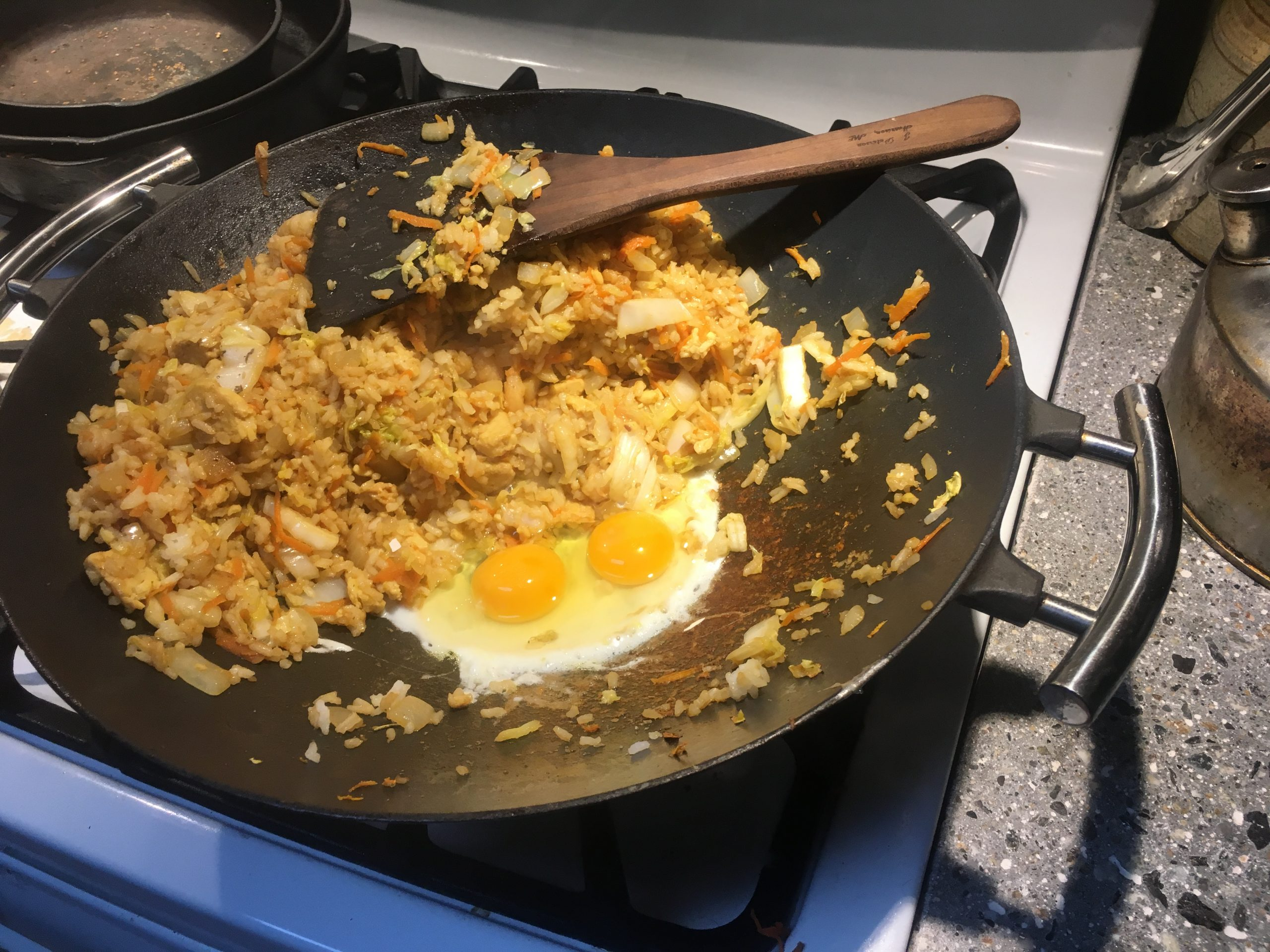 Cast Iron Wok with fried rice