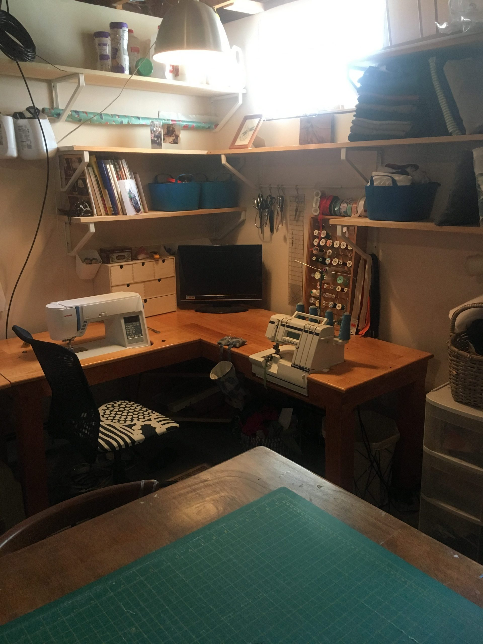 packing up the sewing room